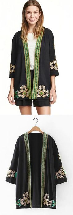 $36 - Boho Embroidered Kimono is Now Available at Pasaboho ( Free Shipping Worldwide ) Details: this kimono exhibits unique embroidered patterns.