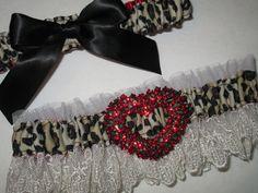 Wedding/Prom Garter in Cheetah & Red Satin by GibsonGirlDesigns, $45.00