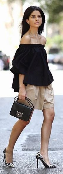 #summer #offtheshoulder #trend #outfitideas |  Nude Loose Shorts Black Strapless Top