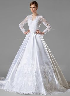 Wedding Dresses - $368.99 - Ball-Gown V-neck Chapel Train Satin Wedding Dress With Ruffle Lace Bow(s) (002004745) http://jjshouse.com/Ball-Gown-V-Neck-Chapel-Train-Satin-Wedding-Dress-With-Ruffle-Lace-Bow-S-002004745-g4745?pos=ultimately_buy_4?snsref=pt&utm_content=pt