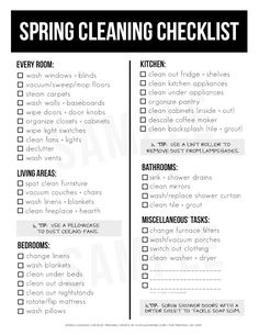 Spring Cleaning Must-Haves and Printable Checklist - A fantastic resource! A printable Spring Cleaning Checklist that you can use year after year, with - Spring Cleaning Checklist, Deep Cleaning Tips, House Cleaning Tips, Cleaning Solutions, Cleaning Hacks, Clean Kitchen Checklist, Cleaning Checklist Printable, Spring Cleaning Organization, Organizing Life