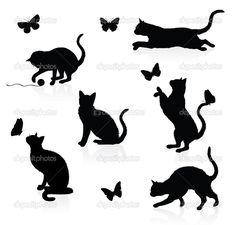 Силуэты кошек с бабочками — стоковая иллюстрация #18779813