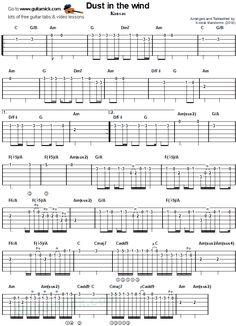 Dust in the Wind by Kansas - guitar tab 3 Easy Guitar Tabs, Easy Guitar Songs, Fingerstyle Guitar, Backing Tracks, Guitar Chords, Cords, Kansas, Sheet Music, Model