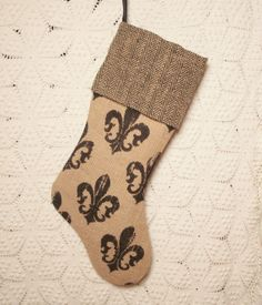 Black and Tan Rustic Fleur de Lis Burlap Christmas Stocking