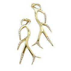 K Brunini's Objects Organique Collection Antler Earring representing the earth created in 18 karat yellow Gold with Diamonds.