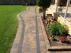 Walkway with accent border