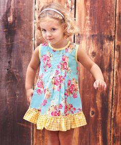 Blue Floral Ruffle Dress - Toddler & Girls