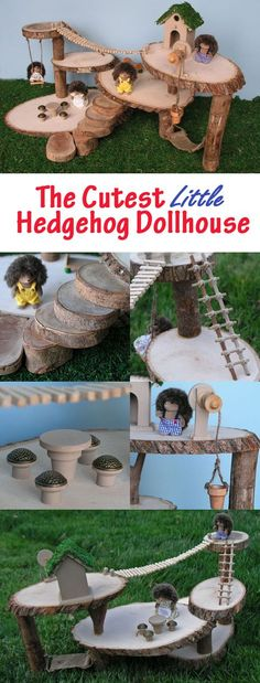 Hedgehog dollhouse made of tree branch discs