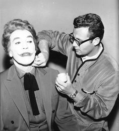 Cesar Romero being transformed in the Clown Prince of Crime, the Joker