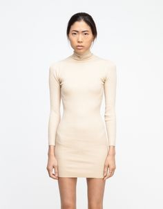 Turtleneck Dress in Taupe / $65