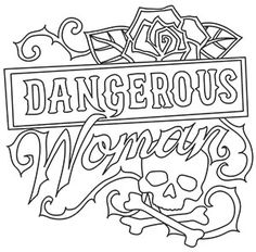 coloring pages to print Femme Fatale - Dangerous Woman Skull Coloring Pages, Love Coloring Pages, Printable Adult Coloring Pages, Coloring Books, Tattoo Bauch, Swear Word Coloring Book, Up Girl, Stencil, Backgrounds