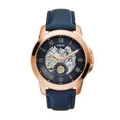 Fossil Men's ME3054 Grant Three-Hand Automatic Leather Watch - Navy Blue