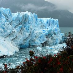 """Bleu de glace Situé dans le parc national Los Glaciares, le glacier Perito Moreno est l'un des plus célèbres de la Patagonie argentine. D'une longueur de 30 km et d'une superficie de 250 km², il est l'un des nombreux glaciers alimentés par le """" Champ de glace patagon """" de la cordillère des Andes, frontière naturelle entre l'Argentine et le Chili."""