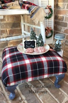 DIY Footstool Makeover- This little footstool is all ready for the holidays with new plaid fabric and Miss Mustard Seed's Milk Paint in Typewriter.