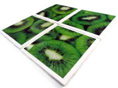 Ceramic Tile Coasters Set of Four Felt Backing Kiwi Fruit. $20.00, via Etsy.