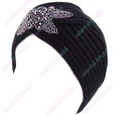 2016 New Fashion Ladies Metal Jewel Accessory Winter Warm gem Turban Soft Knit Headband Beanie Crochet Headwrap Women Hat Cap