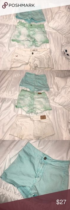 🌴SHORTS BUNDLE🌴 Garage Denim shorts, Hollister shorts, and Bullhead Denim shorts all size 1. The only low rise pair is the Hollister pair, the rest are high waisted. Get the bundle and save!! 💙 Shorts Jean Shorts