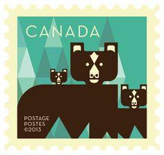 'Bears' Dale Nigel Goble stamp design for Canada Post.  Via Canadian Design Resource.