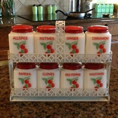 Vintage Tipp City Milk Glass Spice Shakers Cherry Pattern With Rack