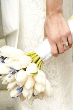 Bridal bouquet of white Dutch tulips and bluebonnets |  Photographer: KP Studios