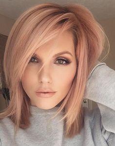 Trends 2018 – Gold Rose Hair Color : Rose Gold Hair Inspiration for You Blond Rose, Blonde Rose Gold Hair, Golden Blonde, Rose Gold Short Hair, Golden Brown, Rose Hair Color, Pale Skin Blonde Hair, Rose Gold Toner Hair, Toning Blonde Hair