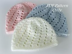 Del bebé gorro sombrero del ganchillo patrón, nivel principiante, tamaño 0-3 meses, para niños y niñas, rápido para hacer, Instant PDF Descargar