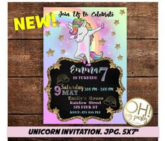 Unicorn invitation unicorn birthday invitation printable dab unicorn invitation dab unicorn birthday invitation dab stopboris Choice Image