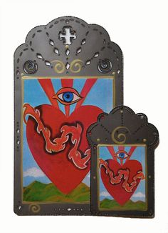 Sacred Heart & God's Eye Laser Cut Steel Collage using Print from my Original Art/Icon Christina Miller Artist Christina Miller, Virgin Mary Art, Original Paintings, Original Art, Laser Cut Steel, Gods Eye, Bee Art, Catholic Art, Art Icon