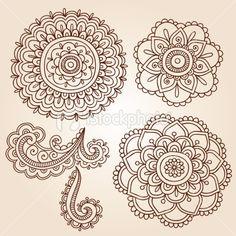henna patterns | Henna Mehndi Tattoo Mandala Flowers Vector Elements Royalty Free Stock ...