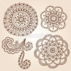Henna Mehndi Tattoo Mandala Flowers Vector Elements Royalty Free Stock Vector Art Illustration