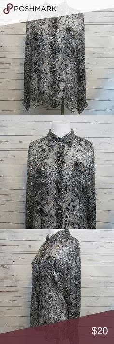 "Chico's Black White Sheer Silk Blend Top 2 M Brand: Chico's Size: M Material: 58% Rayon 42% Silk Care Instructions: Machine Wash  Bust: 42"" Shoulders: 18"" Sleeves: 24"" Length: 27""  All clothes are in excellent used condition. No tears, stains or holes unless otherwise I noted.   P? Chico's Tops Blouses"