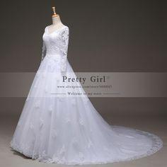 robe de mariage Real Photo Lace Long Sleeve Wedding Dresses 2015 vestido de noiva Romantic Wedding Gowns Bridal Dress casamento