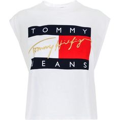 Tommy Jeans Flock Crop T Shirt (2,090 DOP) ❤ liked on Polyvore featuring tops, t-shirts, shirts, white, t shirt, white crew neck t shirt, sleeveless t shirt, cropped tops and white sleeveless shirt