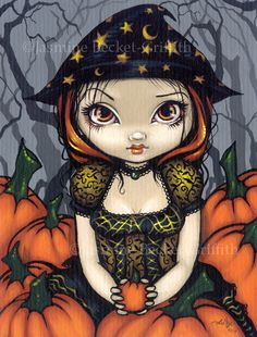 Halloween is coming! Well, even when it's not, I still love Halloween and so does this little pumpkin witch! My own original acrylic painting.