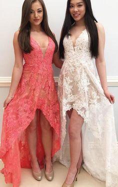 Deep V Neck ,High Low Lace Pink Prom #prom #promdress #dress #eveningdress #evening #fashion #love #shopping #art #dress #women #mermaid #SEXY #SexyGirl #PromDresses