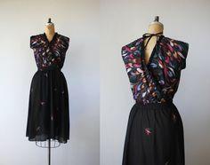 vintage 1970s dress / 70s feathers dress / 70s by livinvintageshop