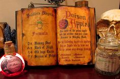 Evil Queen Spell Book with 2 Potion Bottles Instant Halloween Decoration Prop A | eBay