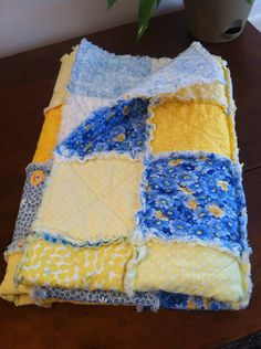 Yellow and Blue Rag Baby Quilt, Cotton and Flannel Patchwork  on Etsy, $70.00