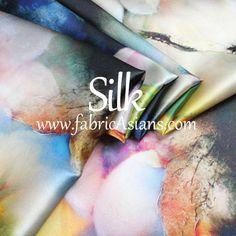 SILK Lotus Print Fabric. Oriental Silk. Floral by fabricAsians