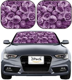 2 pack Universal Car Side Window Sun Shade Protector Auto Shade Roller Retractable Sunshade for Rear Windows with Suction Cups Windshield Blocks Harmful UV Rays keep Baby Kids pets from Sun Glare and Heat