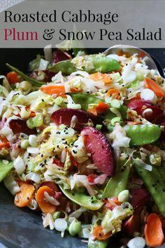 Roasted Cabbage, Plum & Snow Pea Salad
