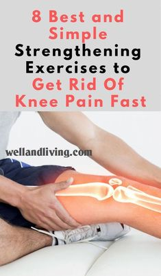 8 Best and Simple Strengthening Exercises To Get Rid Of Knee Pain Fast - Well and Living Knee pain is very common with people of all ages. Here are a collection of the Best and Simple Knee Strengthening Exercises to Get Rid of Knee Pain Fast. Leg Pain, Back Pain, Iliotibial Band Syndrome, Knee Strengthening Exercises, How To Strengthen Knees, Knee Arthritis, Rheumatoid Arthritis, Knee Pain Relief, Nerve Pain