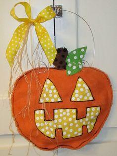 Burlap Pumpkin Jack o Lantern  Door Hanging by nursejeanneg, $28.00