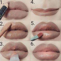 Step-by-step lip tutorial Swipe to Ombre Lips Tutorial, Basic Makeup Tutorial, Lip Tutorial, Lipstick Tutorial, Eyeliner Tutorial, Lipstick Style, Lipstick Art, Lipstick Dupes, Lipstick Colors