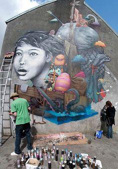 "Liliwenn-Bom-K-Brest-detail-2 [1], ""The miraculous catch"" of Liliwenn and Bom.K, 2012."