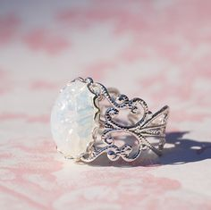Opal RING Silver Filigree Ring Vintage Pinfire by redtruckdesigns