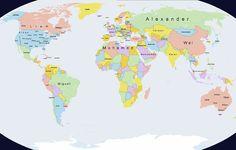 Mapa muestra los nombres masculinos más comunes del mundo vía @Publimetro Perú