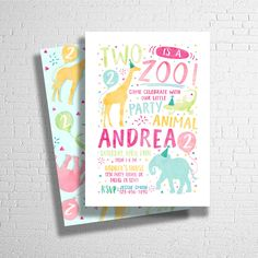 Two Is A Zoo Birthday Invitation | Party Animal Invitation | Zoo Animal Birthday Invitation | Wild Invitation | DIGITAL FILE ONLY by ohbejoyfulshop on Etsy https://www.etsy.com/listing/521672253/two-is-a-zoo-birthday-invitation-party