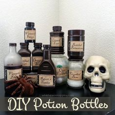 Just imagine how cute these potion bottles would look in your living room for Halloween. What is Halloween without potions anyways? If you set them next to the candy bowl, you will be sure to get some wide eyedRead Halloween Home Decor, Halloween Projects, Diy Halloween Decorations, Holidays Halloween, Halloween Crafts, Halloween Printable, Halloween Ideas, Happy Halloween, Halloween Witches
