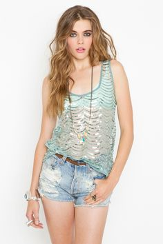 Scalloped Sequin Tank - Super cute seafoam mesh tank featuring scalloped sequin detailing and loose fit. Scoop neckline and back. Looks amazing paired with crop skinnies and platforms!